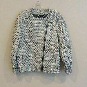 J. CREW sz 6 black white silver jacket